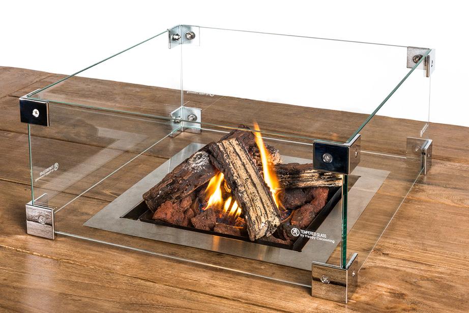 Inbouwbrander glas vierkant